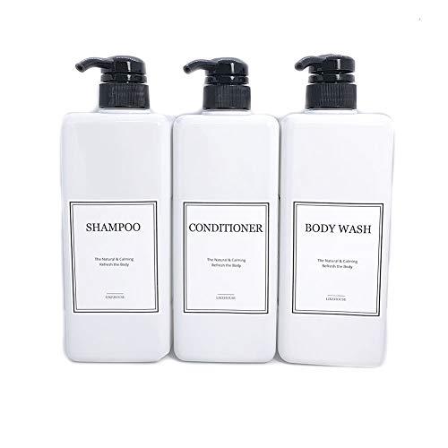 CNC 27.05 oz Pump Bottle of The Bathroom, Waterproof Label Sticker,Pack of 3, Shower Plastic Bottles, Empty