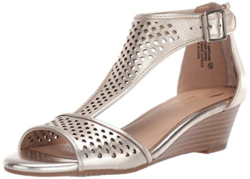Aerosoles Women's Sapphire Wedge Sandal, Gold Leather, 11 W ()