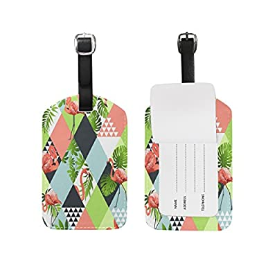Saobao Travel Luggage Tag Watercolor Flamingos PU Leather Baggage Suitcase Travel ID Bag Tag 1Pcs