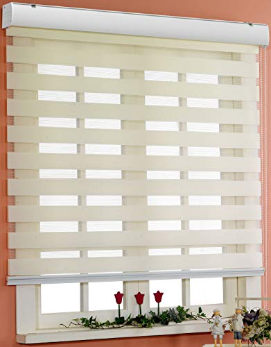 Foiresoft Custom Cut to Size, [Winsharp Basic, Ivory, W 96 x H 64 inch] Horizontal Window Shade Blind Zebra Dual Roller Blinds -