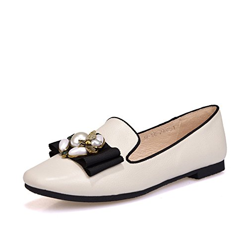 ZFNYY Zapatos de Verano de Viento Celebrity Abeja de Perla Popular Cabeza Plana de Mujer