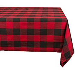 "Cotton Buffalo Check Plaid Rectangle Tablecloth for Family Dinners or Gatherings, Indoor or Outdoor Parties, & Everyday Use (60x84"", Seats 6-8 People), Red & Black"