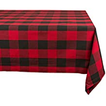 """DII Cotton Buffalo Check Plaid Rectangle Tablecloth for Family Dinners or Gatherings, Indoor or Outdoor Parties, & Everyday Use (60x104"""",  Seats 8-10 People), Red & Black"""
