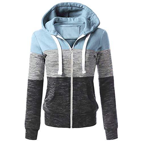 iLUGU Fashion Womens Casual Hoodies Sweatshirt Patchwork Ladies Hooded Blouse Pullover ()
