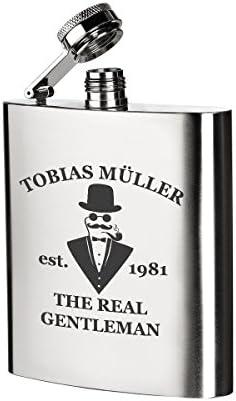 polar-effekt Edelstahl Flachmann mit Gravur - Schnapsflasche 200 ml - Geburtstagsgeschenk für Männer, für Papa oder Geschenk für Freund zum Geburtstag - Motiv Jubiläum