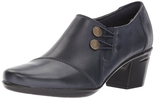 Clarks Women's Emslie Warren Slip-on Loafer,Navy Leather,11 M US - Navy Heels Shoes
