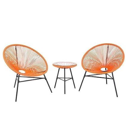 Beliani Mesa y 2 sillones de jardín Spaghetti - náutica ...