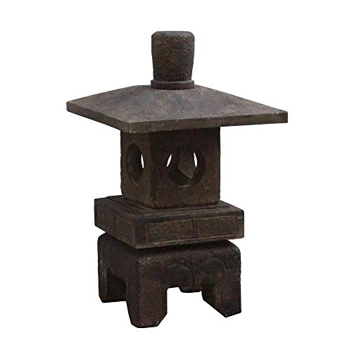 Chinese Gray Brown Square Short Stone Garden Lantern Acs4665