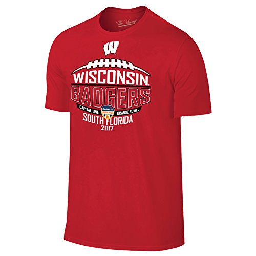 Wisconsin Badgers 2018 Capital One Orange Bowl Football T Shirt   Large   Red