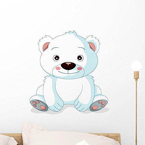 Wallmonkeys Cute Polar Bear Cartoon Wall Decal Peel and Stick Graphic (18 in H x 17 in W) WM316007 ()