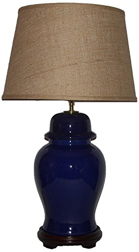 Ginger Porcelain Lamp Jar (A Ray Of Light 54112BUR Ginger Jar Porcelain Table Lamp with a Brown Burlap Drum Shade, Extra Large, Vibrant Cobalt Blue)