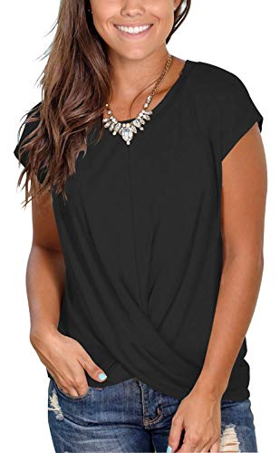 Women's Casual Short Sleeve Scoop Neck Loose Tunic T Shirt Blouse Tops with Twist Black M