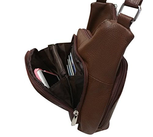 Brown Strap Gun Adjustable Wire Leather Roma Reinforced Concealment Purse YKK Leathers Cowhide Zippers 7nz5wzfqUg