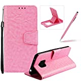 Strap Leather Case for Huawei Mate 20 Pro,Wallet Flip Case for Huawei Mate 20 Pro,Herzzer Retro Classic Pink Solid Color Magnetic Closure Stand Shockproof Card Holder Slots Folio PU Leather Back Case with Soft Silicone