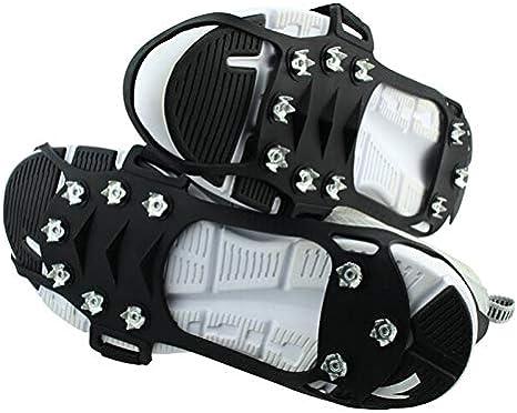 antiscivolo per scarpe invernali alpinismo arrampicate inverno BDUCK outdoor altitudine Ramponi da ghiaccio a 19 denti in acciaio inox trekking in gel di silice