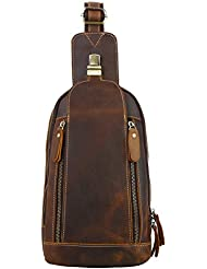 Leathario Mens Leather Sling bag Chest bag One shoulder bag Crossbody Bag Backpack for men