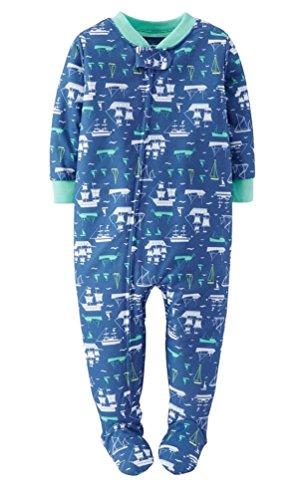 Carter's Baby Boys 1-Piece Snug Fit Pajamas Cotton PJs (18 Months, Blue/Pirate Ships)