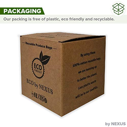 Reusable Produce Bags ECO by NEXUS, Set of 11 - Washable Mesh Grocery Bags for Shopping, Storage and Organization - Tare Weight Labels and Drawstring Closure - 100% Cotton, Plastic-Free Packaging by ECO by NEXUS (Image #3)