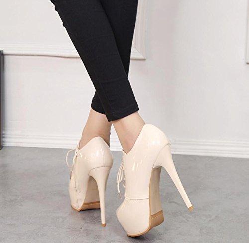 KHSKX-Il Beige 13Cm Nuove Donne Sexy Scarpe In Europa E In America Con Ultra Sottile Con Una Cinghia Di Cuoio Verniciato Impermeabili E Stivali Stivali Nude 34