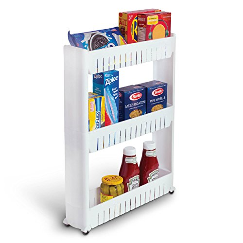 Bathroom and Kitchen Slim Storage Organizer - Slide Out Shelf Storage Tower as a Plastic Small Mobile Shelving with 3 Shelves for Narrow Space Organization in Laundry Room Closet Office by Perfect Life Ideas