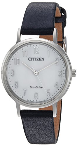 -Drive' Quartz Stainless Steel and Leather Casual Watch, Color:Blue (Model: EM0570-01A) ()