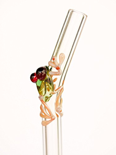 Hummingbird Glass Straws Caramel Frog on Clear Bent 9 in x 9.5 mm with Cleaning ()