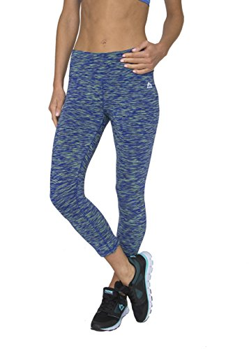 RBX Active Women's Knee Length Printed Space Dye Yoga Crop Capri Leggings,Large,Force Blaze Blue