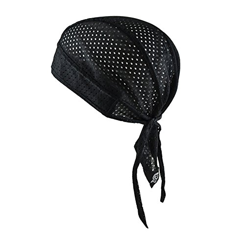 Doo Rags Skull Cap Cycling Bandana Head Wrap Breathable Helmet Liner Durag Sweat Wicking Beanie Hat for Men Women Black