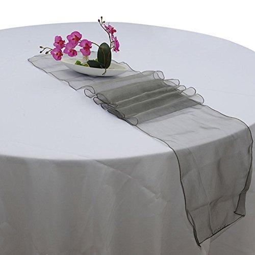meiyiu Sheer Camino de mesa de organza para boda y fiesta la decoración del hogar, gris