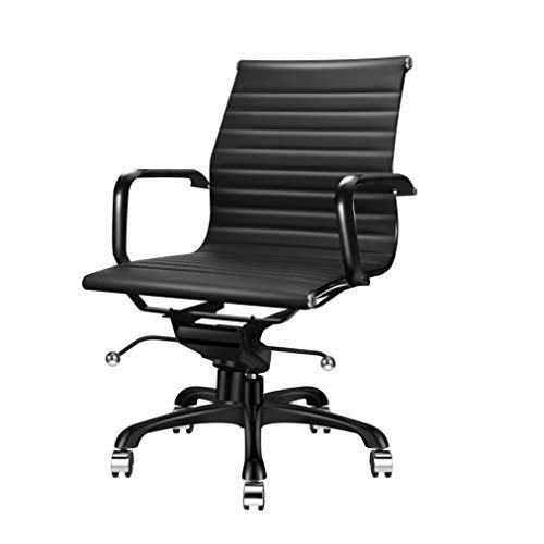- LUXMOD Deluxe Black Office Chair, Mid Back Computer Chair, Vegan Leather Desk Chair, Ergonomic Office Chair for Extra Back & Lumbar Support - Black