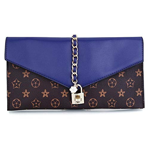 Evening Flower Clutch Dreamys Bag Handbag Blue Lock Oversized Designer With Wristlet Women 7xwwq1gE