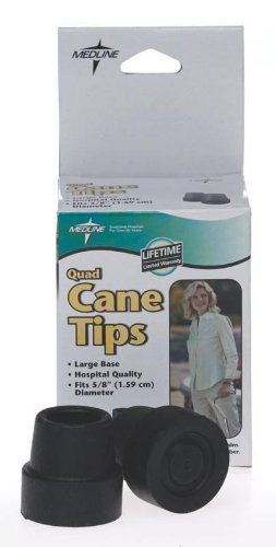 Quad Base Cane Small Tips (Medline MDS86425W Quad Cane Tips, Large Base, 5/8