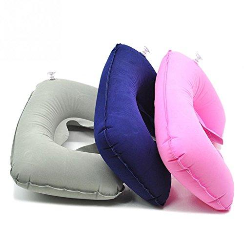 Pier 27 Car Flight Travel Soft Nursing Cushion Portable Inflatable U-Shape Flocked Pillow Neck Rest Car Travel Comfort Headrest