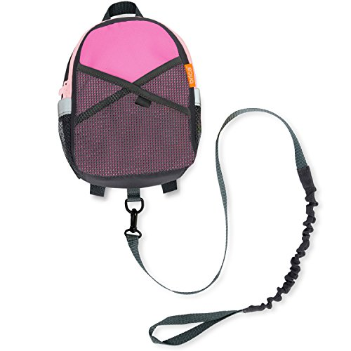 - Brica by-My-Side Safety Harness Backpack, Pink/Gray