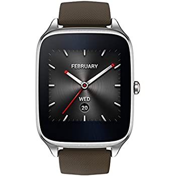 """ASUS ZenWatch 2 , WI501Q-SR-BW-Q , 1.63"""" Smartwatch Silver Case, Brown Rubber Band with HyperCharge, AMOLED Gorilla Glass 3 Touchscreen, 4GB Storage, IP67 Water Resistant"""