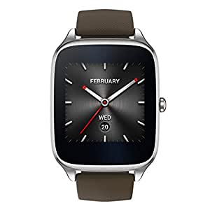 "ASUS ZenWatch 2 , WI501Q-SR-BW-Q , 1.63"" Smartwatch Silver Case, Brown Rubber Band with HyperCharge, AMOLED Gorilla Glass 3 Touchscreen, 4GB Storage, IP67 Water Resistant"
