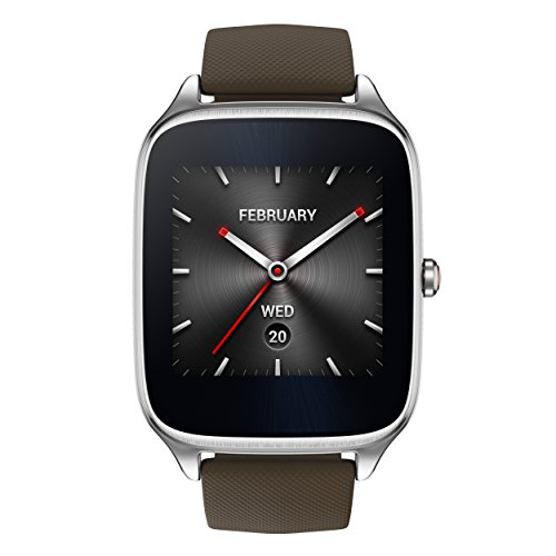 ASUS ZenWatch 2 Silver with Brown Leather Strap 41mm Smart Watch with HyperCharge Battery, 1.63-inch AMOLED Gorilla Glass 3 Touchscreen, 4GB Storage, IP67 Water Resistant