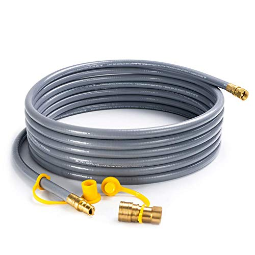 SHINESTAR 24 Feet Natural Gas Hose with 3/8inch Male Flare Quick Connect/Disconnect for BBQ Gas Grill- 50,000 BTU Fits Low Pressure Appliance with 3/8inch Female Flare Fitting to Male, CSA Certified (20 Foot Natural Gas Quick Connect Hose)