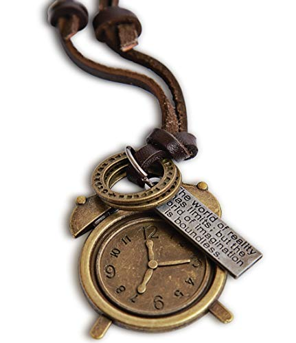 Steampunk Accessories - Brass Steam Punk Clock Necklace with Brown Leather Necklace Cord - Goth Necklace - Adjustable Length - Vintage Look- Gift Box Included ()