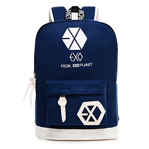 Fanstown EXO Kpop Overdose XOXO Backpack Canvas Bag + 2 Pieces of EXO Poster lomo Card (blue1)