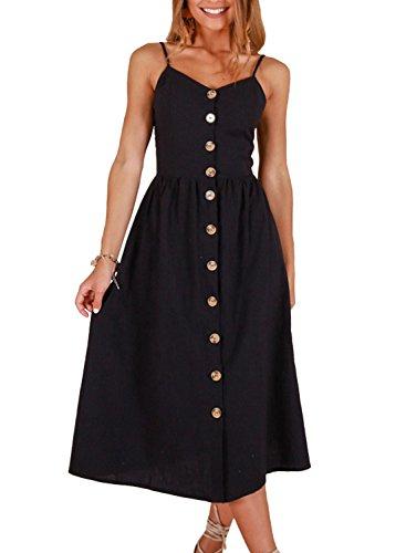 Black Button Front Dress - ZESICA Women's Summer Spaghetti Strap Solid Color Button Down Swing Midi Dress Black Medium