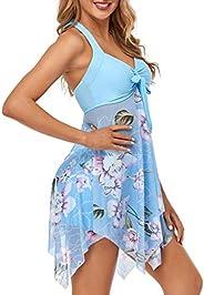 Women V-Neck Tankini Set Bow Knot Front Two-Piece Halter Swimdress with Boy Shorts