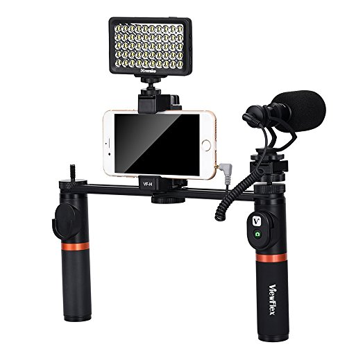 Viewflex Phone Video Kit VF-H7 Smartphone Video Grip with Camera Microphone and Video Light,Metal Handheld Grip for iPhone X, 8Plus,8, 7Plus,7,6Plus, Samsung Galaxy S8+,S8,S7, Note3, Huawei