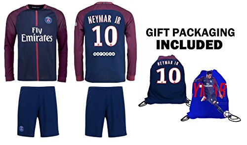 Fan Kitbag Neymar Jr #10 PSG Home Long Sleeve Soccer Jersey & Shorts Paris Saint Germain Youth Kids Home ✓ Premium Gift Picture Backpack (YM 8-10 Years, Home Long Sleeves) (Paris Short)