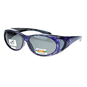 Womens Glare Blocking Polarized Lens 60mm Fit Over Oval Sunglasses Purple