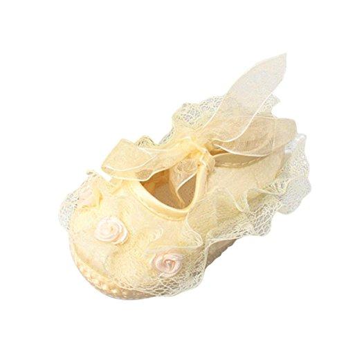 Hunpta Baby weiche alleinige Spitze Blume Riband Anti Rutsch beiläufige Prinzessin Schuhe Kleinkind Gelb