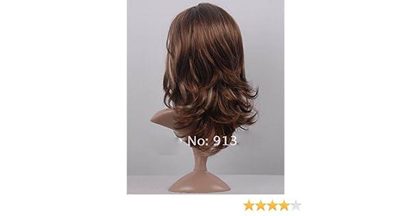 Peluca Curly Wings de Aukmla, pelo ondulado de color castaño, para mujer, gran calidad, con casquillo independiente, resistente al calor: Amazon.es: Belleza