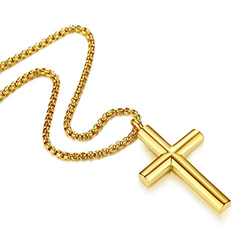 Molike Simple Stainless Steel Cross Pendant Necklace Men Women, 20''-24'' Twist Rope Chain (Gold Pendant + 20'' Rolo Chain)