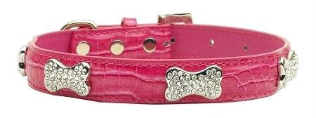 Mirage Pet Products Faux Croc Crystal Bone Collars, Pink, Large