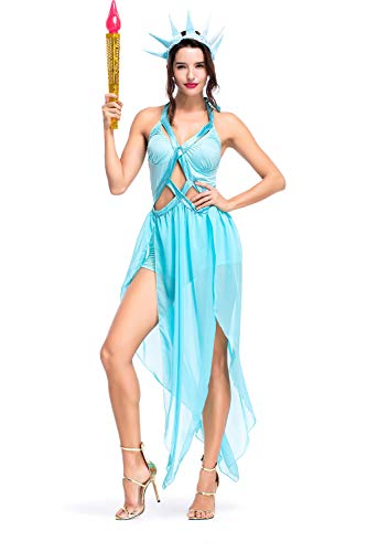 X-COSTUME Women's Statue of Liberty Cosplay Costume Hollowed-Out